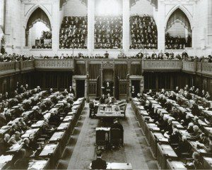 Black and white photo of government event