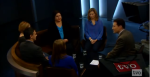 4 women and two men sit around a table on TVO