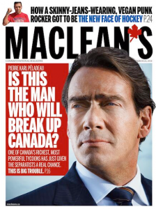 """Pierre Karl Peladeau with title """"Is this the man who will break up Canada?"""""""