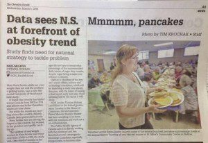 """Front of newspaper one article"""" Data sees N.S. at forefront of obesity trend"""" next to other article """"Mmmmm, pancakes"""""""