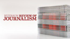 Ryerson Review of Journalism graphic with stack of magazines