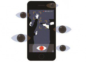 Phone camera showing policeman pointing gun at man with hands up, eye illustrations also on the image