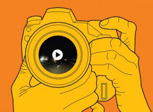 Cartoon drawing of camera with photo and play button on lens