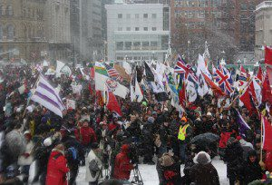 Idle No More protest in the snow