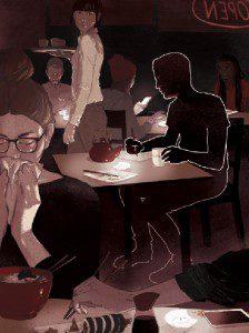 Illustrated man at restaurant drinks coffee