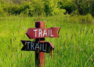Trail sign pointing in two different directions