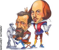 "Illustration of cartoon man sculpting ""Michaelangelo"" and a cartoon jester behind him"