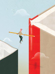 Illustration of man walking a tightrope between two books while carrying a pencil