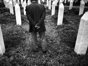 Man at graveyard