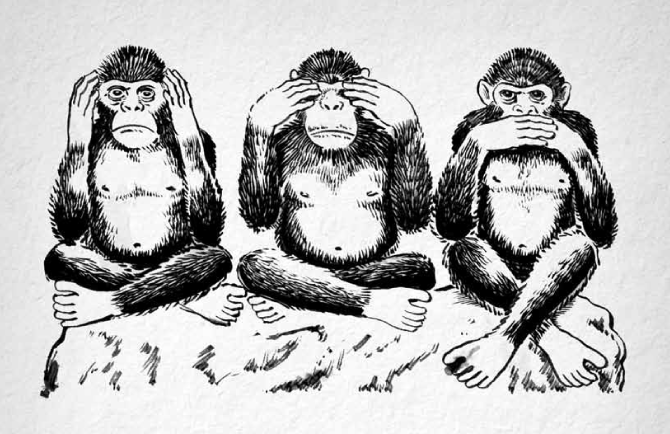 Hear no evil, see no evil, speak no evil monkeys