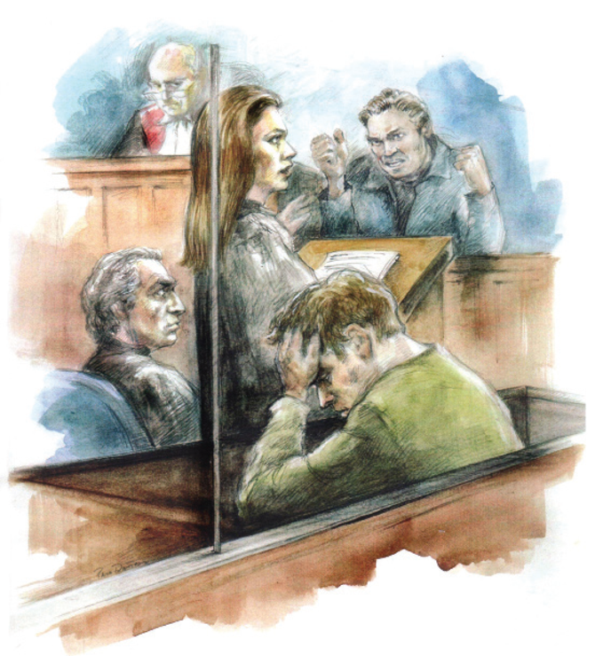 Illustration of people in court