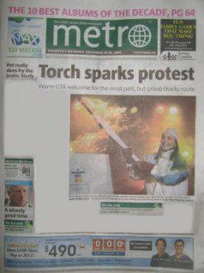 """Metro newspaper front page """"Toronto sparks protest"""""""