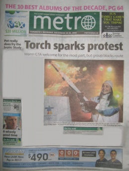 "Metro newspaper front page ""Toronto sparks protest"""