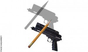 Gun and pencil