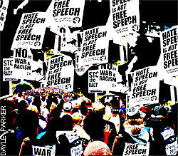 """Protest signs saying """"Hate Speech is not Free Speech"""""""