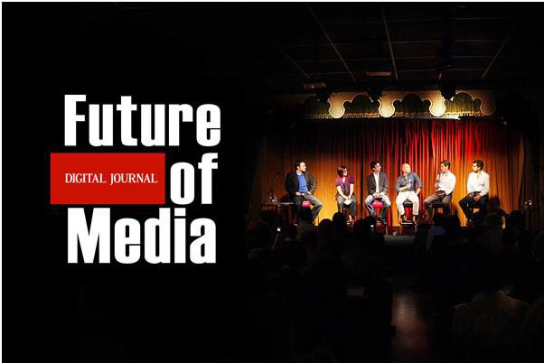 """Future of Digital Journal of Media"" logo on top of image of speakers on a stage"