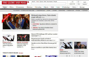 """The Globe and Mail webpage """"Mubarak steps down, Cairo streets erupt with joy"""""""