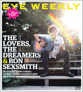 "Eye Weekly ""The lovers, the dreamers & Ron Sexsmith"" title"