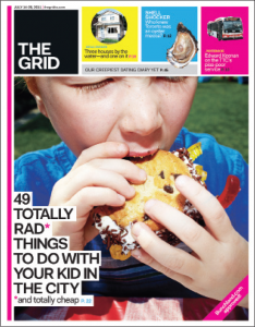 "The Grid: boy eats desert with title ""49 totally rad things to do with your kid in the city"""