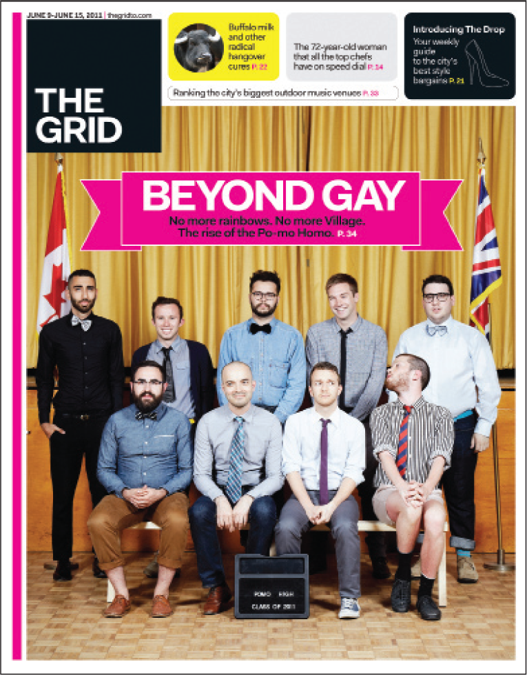 The Grid: Beyond Gay with 9 men posing like a school photo