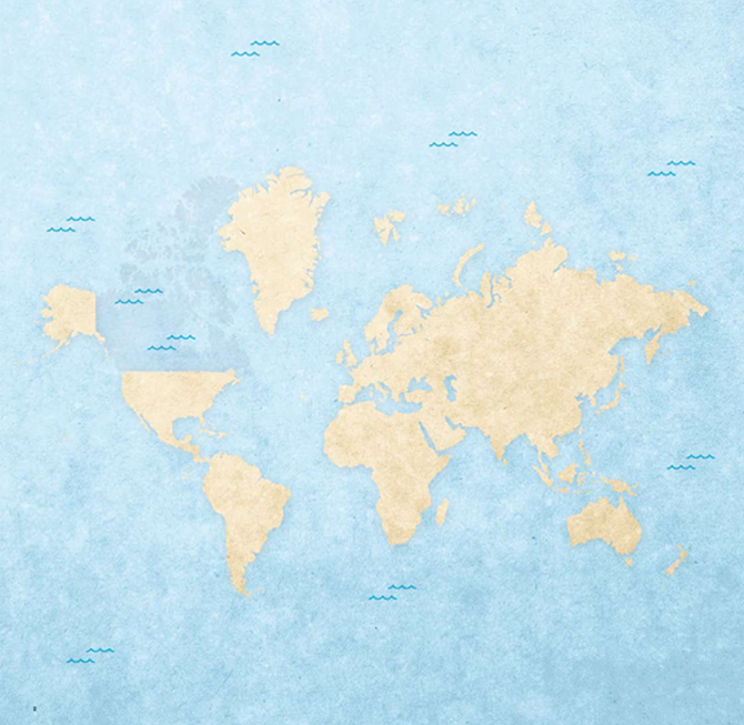 World map with Canada covered in water