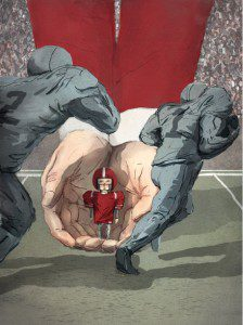 Illustration of football player coming out of cupped hands