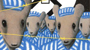 Mice in blue striped clothing behind barbed wire