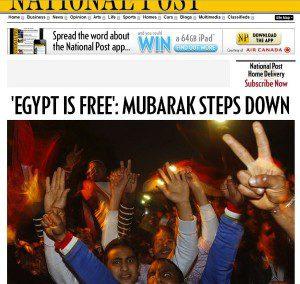 "National Post webpage ""Egypt is free: Mubarak steps down"""