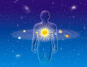 Illustration of person centred in the universe