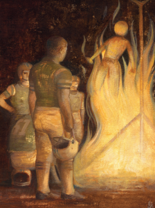 Illustration of people gathered around fire watching person burning