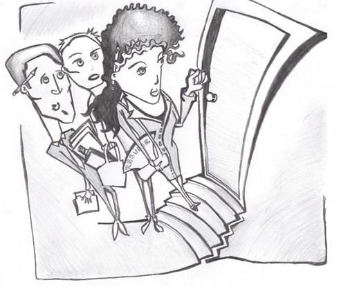 Illustration of three people knocking on a door with papers