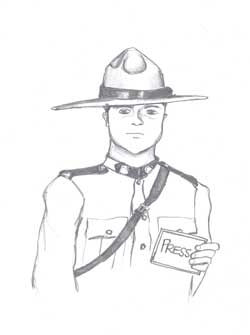 """Illustration of RCMP with card saying """"Press"""""""