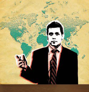 George Stroumboulopoulos illustrated in front of world map