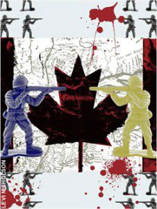 Two toy solders and a Canadian flag
