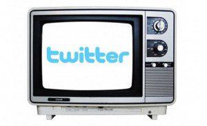 Twitter logo on TV screen