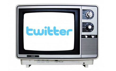 Twitter logo on TV screen