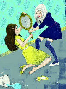 Illustration of two women fighting over a hand mirror
