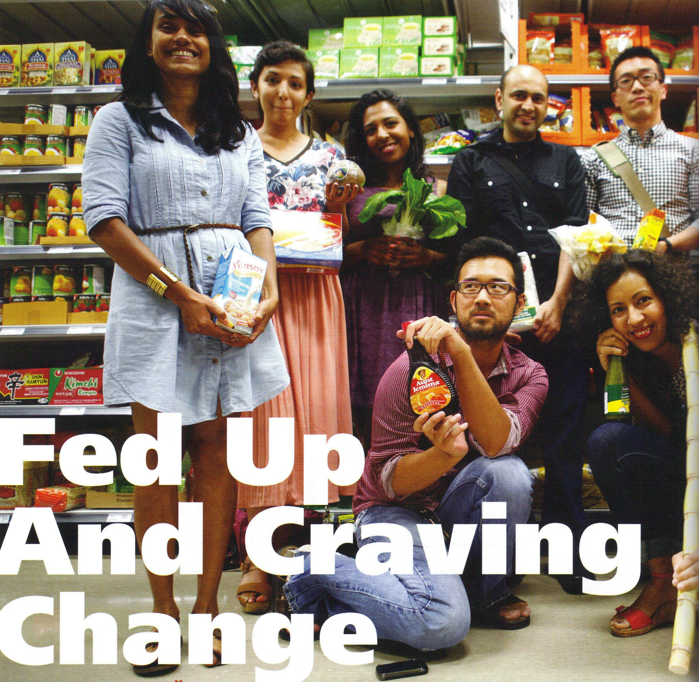 """Fed up and craving change"" on photo of people at grocery store"