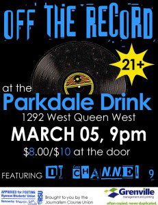 Off The Record at the Parkdale Drink event poster
