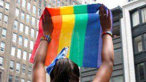 Pride flag being held