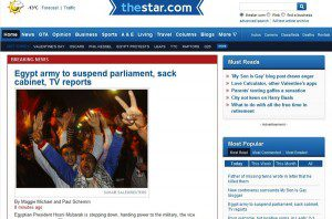 """The Star webpage """"Egypt army to suspend parliament, sack cabinet, TV reports"""""""