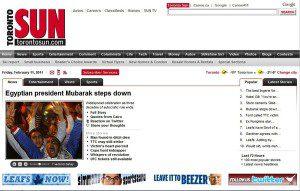 "Toronto Sun webpage ""Egyptian president Mubarak steps down"""