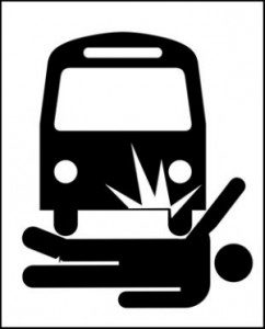 Bus hitting human illustration