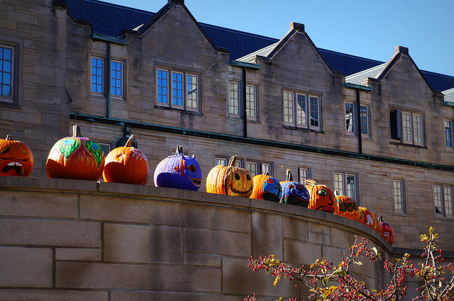 Painted pumpkins on a wall in front of large building