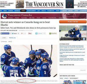 The Vancounver Sun website