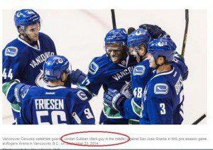 """Men's hockey photo with names listed below, """"Jordan Subban"""" circled"""