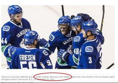 "Men's hockey photo with names listed below, ""Jordan Subban"" circled"
