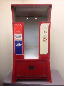 Empty newspaper dispenser
