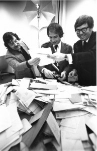 Don Obe and 2 others with mountain of mail