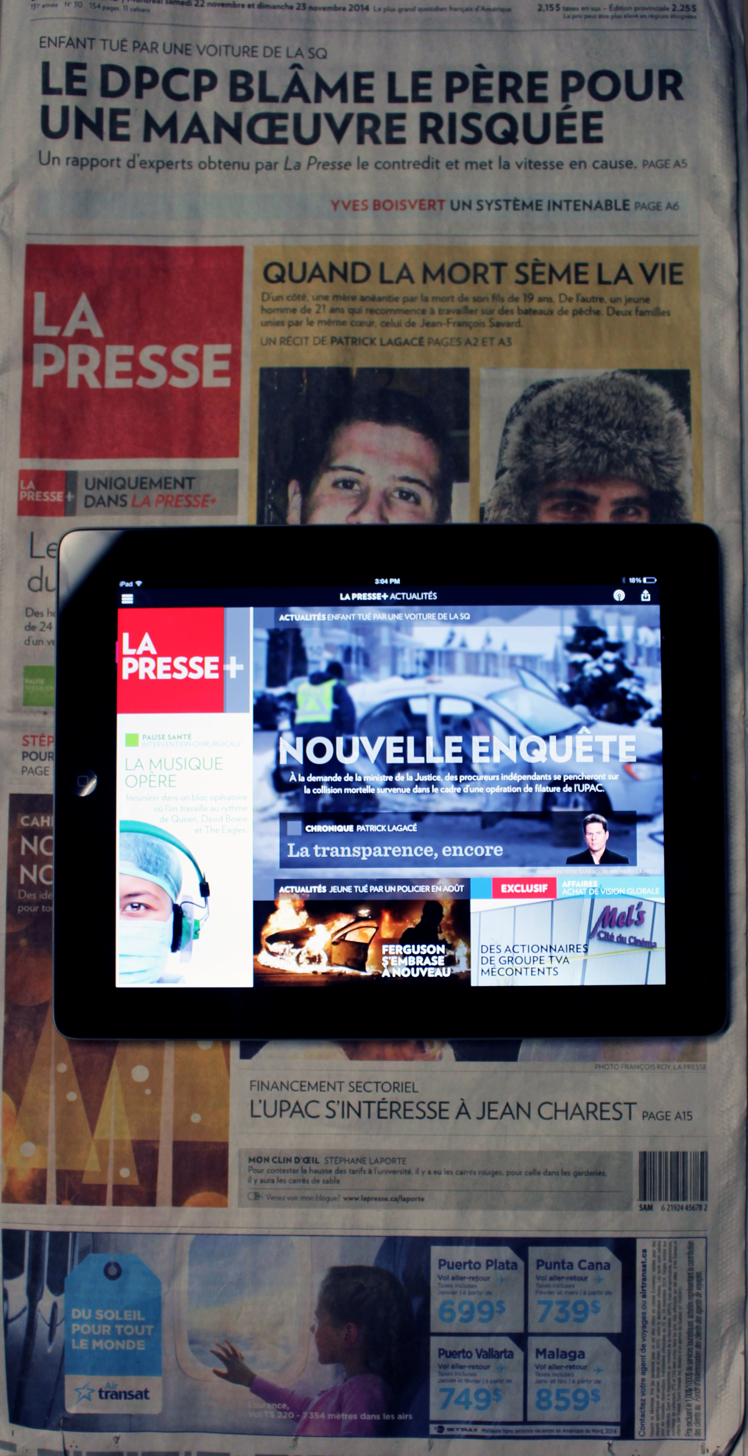 La Presse Newspaper and website on iPad